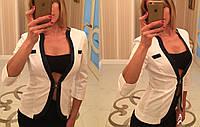 Жакет  женский с контрастной окантовкой, модель 743, белый