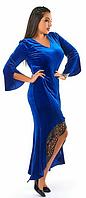Красивое,модное,бархатное платье в пол большого размера с отделкой-эко кожа,цвета электрик