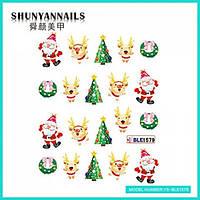 Слайдер дизайн для ногтей Новогодние, Санта Клаус, Дед мороз, елочка, олень