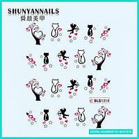 Слайдер дизайн для ногтей День влюбленных, сердечки, кошки
