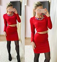 Костюм кофта и юбка с украшением 4097