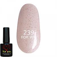 Гель лак Красивый Розовый Полупрозрачный с шиммером, микроблеском, мерцанием FOR YOU № 239
