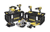 Набор инструментов Dewalt 18 В: шуруповерт+ +электролобзик+пила+угловая шлифовальная машина+лампа, 3 x 4,0 ah