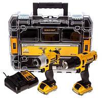 Набор инструментов Dewalt 10,8В: дрель-шуруповерт dcd710 + электро-отвёртка dcf815 2 x 2,0 ач, чемодан t-stak В kit box