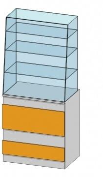 Прямая витрина (800х520х1800мм) ДСП