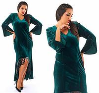 Красивое,модное,бархатное платье в пол большого размера с отделкой-эко кожа,зеленого цвета(бутылочного)