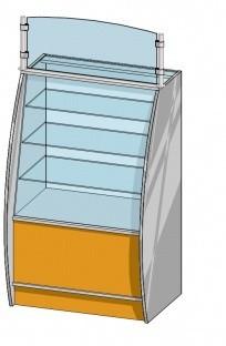 Прямая витрина (800х600х1280мм) ДСП