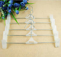 Вешалки (плечики) детские металические с белыми прищепками  для брюк и юбок 24.5 см
