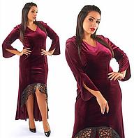 Красивое,модное,бархатное платье в пол большого размера.Бордовый цвет.