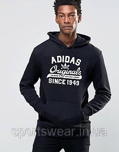Худи Adidas ( Адидас )  | Мужская толстовка  | Кенгурушка - белый принт