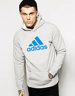 Худи Adidas ( Адидас )    Мужская толстовка    Кенгурушка - большой голубой принт
