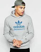Худи Adidas ( Адидас )  | Мужская толстовка  | Кенгурушка - голубой принт