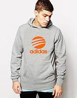 Худи Adidas ( Адидас )  | Мужская толстовка  | Кенгурушка - оранжевый принт