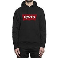 Худи Levis | Мужская толстовка  | Кенгурушка чёрная, красный принт