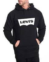 Худи Levis | Мужская толстовка  | Кенгурушка чёрная, белый принт