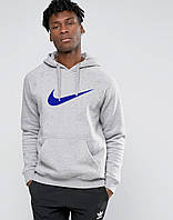 Худи Nike | Мужская толстовка  | Кенгурушка серая, синий принт