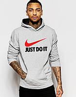 Худи Nike Джаст Ду Ит | Мужская толстовка  | Кенгурушка серая