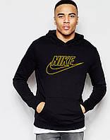 Худи Nike ( Найк ) | Мужская толстовка  | Кенгурушка чёрная,  жёлтый принт