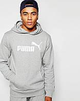 Худи Puma | Мужская толстовка  | Кенгурушка серая, белый принт