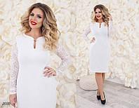 Белое вечернее платье крепдайвинг+гипюр 48,50,52,54