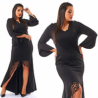 Длинное,нарядное,красивое черное трикотажное вечернее платье в пол.