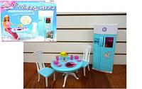 Мебель для кукол Кухня: стол, 2 стула, холодильник с продуктами, посуда