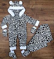 Набор для малышей  человечек, рукавички, пинетки, плед, махра, размер 74/80, 80/86 см