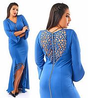 Трикотажное вечернее платье в пол,голубое.