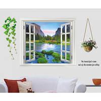 Интерьерная наклейка на стену Окно на горную речку (AY893)