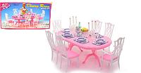 Мебель для кукол Стол со свечами: стол, 6 стульев, посуда, свечи