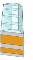 Угловая внешняя витрина (450х450х1800мм) ДСП