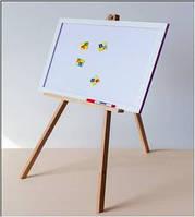 Мольберт магн., триног,дерев., 2-х сторон.  глянец (для мела и маркера), в кор. 62*48см, произ-во Ук