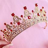 Корона, диадема, тиара, под золото с красными камнями, высота 5,5 см., фото 5