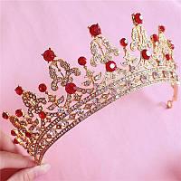 Корона, диадема, тиара, под золото с красными камнями, высота 5,5 см.