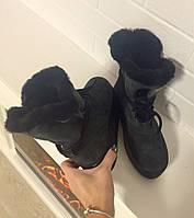 Ботинки-угги зима темно-серые натуральные