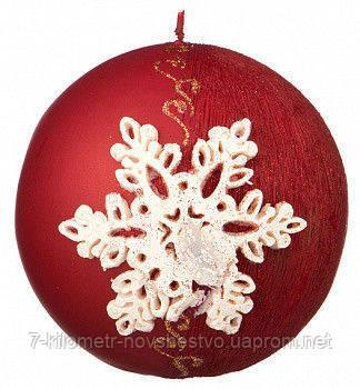Свечи парафиновые, новогодние, Снежинка, d 10 см.