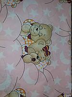 """Детское постельное белье """" Мишки спят"""",  розовый комплект 9 предметов"""