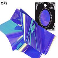 Фольга для ногтей, битое стекло № 08, ширина 5 см, цвет сине-фиолетовый хамелеон, фото 1
