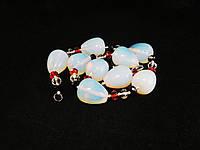 Бусы из лунного камня со вставками хрусталя,капля пузатая+рондель