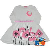 """Детское платье """"Маки"""" , из трикотажа , для девочек от 5-8 лет"""