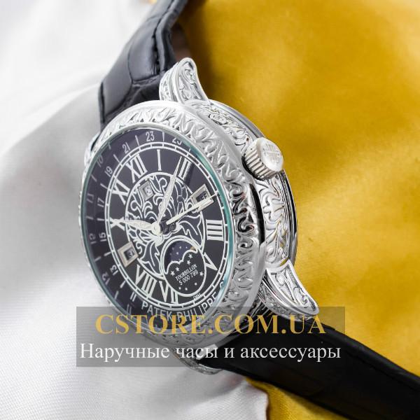 Мужские наручные кварцевые часы Patek Philippe sky moon silver black  (05901), ... d29699e5376