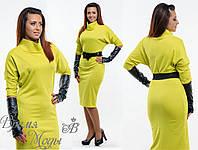 Платье оливковое с перчатками р-р: 54. 4 цвета.