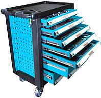 Шкаф передвижной на 7-ящиков + 196 шт. инструментов, синий