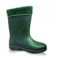 Резиновые сапоги женские утепленные аляска, зеленые, размер- 40 /869