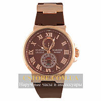 Часы Ulysse Nardin Maxi Marine Chronometer Gold Brown (06386)
