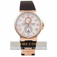 Часы Ulysse Nardin Maxi Marine Chronometer Gold White (06387)