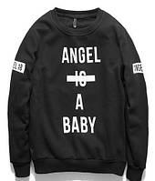 "Свитшот мужской с принтом ""Angel is a baby"" | Кофта"