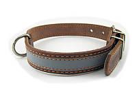 Ошейник для собак COLLAR со светоотражающей лентой 20мм/ 40см, коричневый 01556
