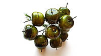Декоративные яблоки Оливковые 1,9 см на проволоке 10 шт/уп