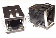 Розетка RJ45 на плату, со светодиодами и трансформатором (KLS12-TL002R-1*1-G/Y-1-03)